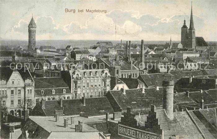 Burg Magdeburg Kirche Hexenturm Panorama Kat. Burg