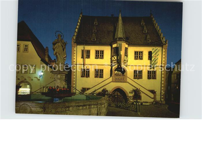 Volkach Rathaus mit Mariensaeule Kat. Volkach Main