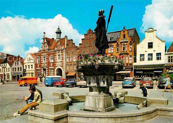 Husum Nordfriesland Marktplatz und Rathaus Brunnen Kat. Husum