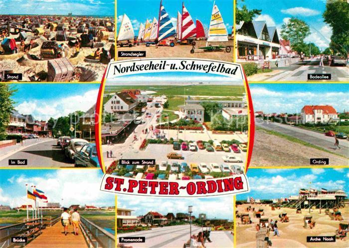 St Peter Ording Strand Strandsegler Badeallee Im Bad Ording Bruecke Promenade Arche Noah Kat. Sankt Peter Ording