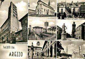 Arezzo Campanile della Peve Cattedrale Panorama da Piazza Guido Monaco Casa del Petrarca Palazzo Comunale Piazza Grande Monumento Petrarca Kat. Arezzo