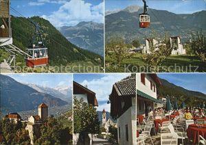 Dorf Tirol Berg und Talstation Hochmut Seilbahn Schloss und Dorf Kat. Tirolo