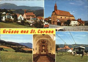 St Corona Wechsel Panorama Wallfahrtskirche Inneres Sessellift Kat. St. Corona am Wechsel