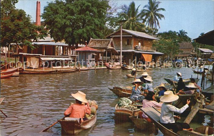 Bangkok Floating Market Wat Sai Kat. Bangkok