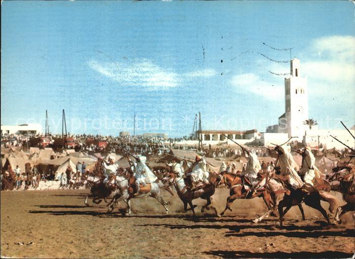 Maroc Marokko Scenes et Types du Maroc Pferderennen Kat. Marokko