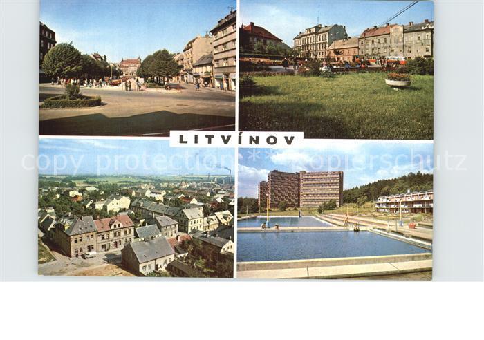 Litvinov Platz Gesamtansicht Schwimmbad Kat. Oberleutensdorf
