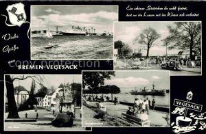 Vegesack Faehrschiff Bremen Faehre Vegesack Lemmwerder Strandpromenade Ulkiek Kat. Bremen