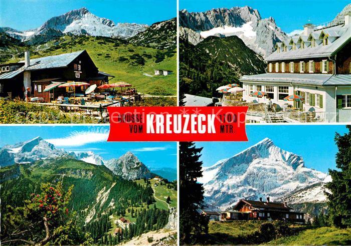 Garmisch Partenkirchen Kreuzeck Hochalm gegen Alpspitze Kreuzeckalm Zugspitze Wettersteingebirge Kat. Garmisch Partenkirchen