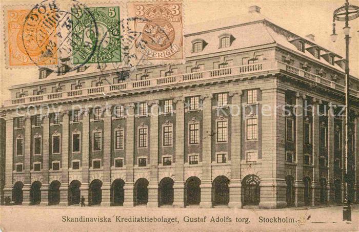 ak stockholm skandinaviska banken gustav adolfs torg nr 6301161 oldthing ansichtskarten. Black Bedroom Furniture Sets. Home Design Ideas