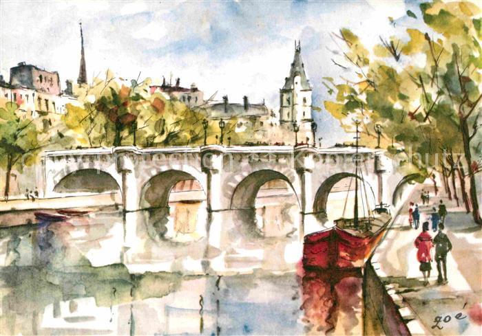 Paris Kuenstlerkarte Le Pont Neuf Kat. Paris