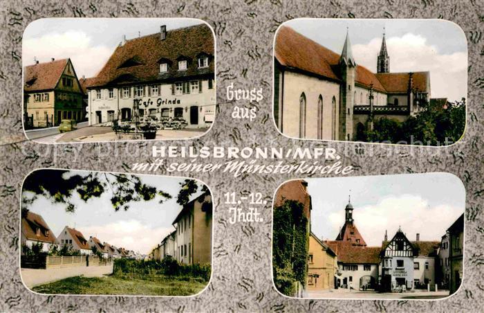 Heilsbronn Cafe Grinde Muensterkirche Teilansichten Kat. Heilsbronn