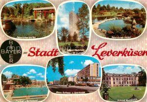 Leverkusen Bayer Kreuz Rathaus Schloss Morsbroich Freibad Hallenbad Japanischer Garten Kat. Leverkusen