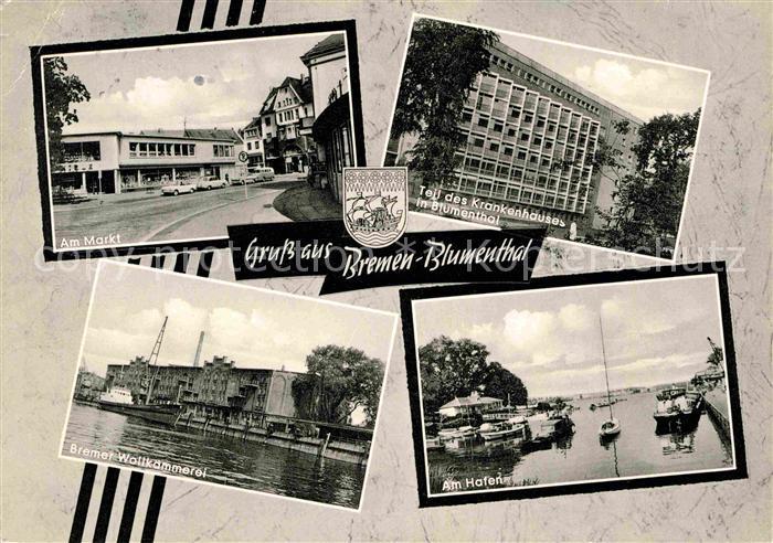 Blumenthal Bremen Wollkaemmerei Krankenhaus Markt Hafen Kat. Bremen