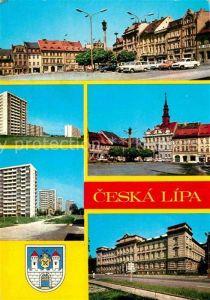 Ceska Lipa Boehmisch Leipa Rathaus Hochhaeuser Marktplatz Stadtansicht Kat. Ceska Lipa