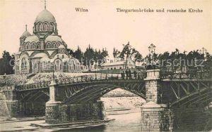 Wilna Wilno Tiergartenbruecke und russische Kirche  Kat. Vilnius
