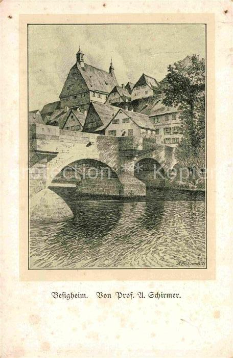 Besigheim Bruecke Ortsansicht Lithographie Schirmer Kat. Besigheim