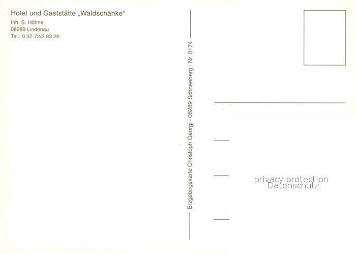 Lindenau Schneeberg Hotel Waldschaenke Kat. Schneeberg Nr. kv54953 ...