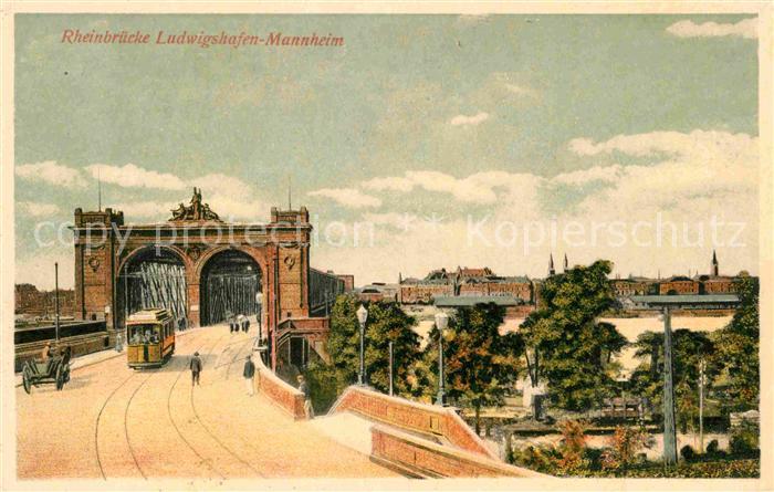Mannheim Ludwigshafen Rheinbruecke Kat. Mannheim