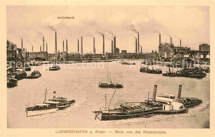 Ludwigshafen Rhein Anilinfabrik Binnenschiffe  Kat. Ludwigshafen am Rhein