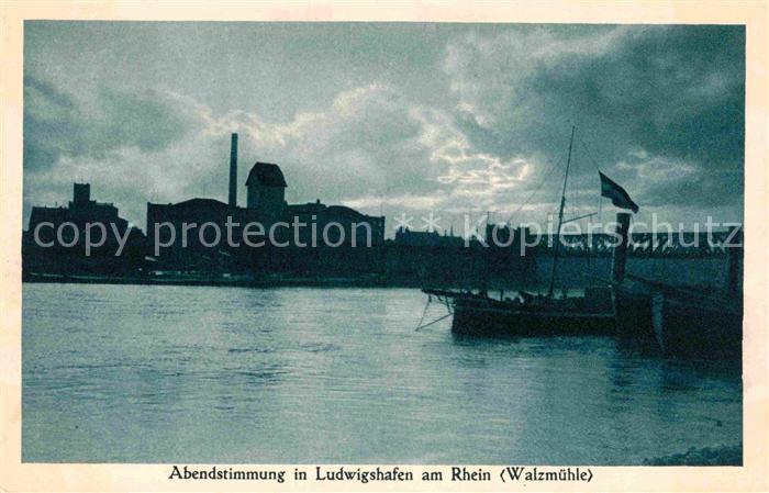Ludwigshafen Rhein Abendstimmung Walzmuehle Binnenschiff  Kat. Ludwigshafen am Rhein