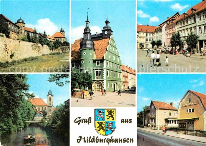 Hildburghausen Stadtmauer Friedenspark Rathaus Marx Engels Platz Leninstrasse Kat. Hildburghausen