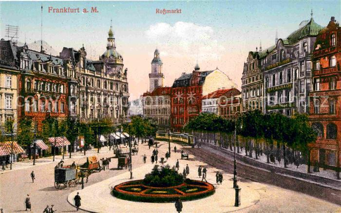 Frankfurt Main Rossmarkt Strassenbahn Pferdefuhrwerk Kat. Frankfurt am Main