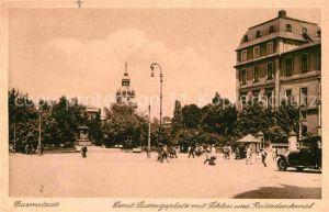 Darmstadt Ernst Ludwigsplatz mit Schloss und Reiterdenkmal Kat. Darmstadt