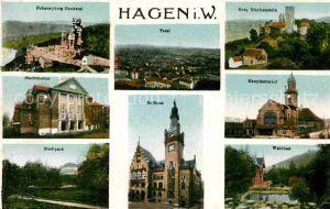 Hagen Westfalen Hohensyburg Denkmal Burg Blankenstein Hauptbahnhof Waldlust Stadttheater Kat. Hagen