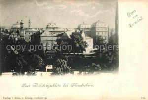 Darmstadt Residenzschloss bei Mondschein Kat. Darmstadt