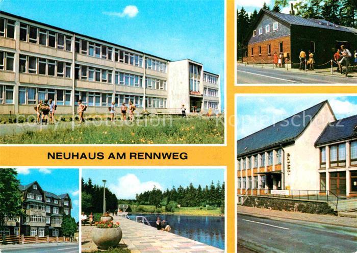 Neuhaus Rennweg Polytech Oberschule Friedrich Engels FDGB Erholungsheim Ernst Thaelmenn VEB Leunawerke Walter Ulbricht Bad Rennsteigbaude Post Kat. Neuhaus Rennweg