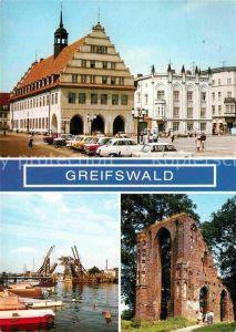 Greifswald Rathaus Wiecker Klappbruecke Eldena Klosterruine