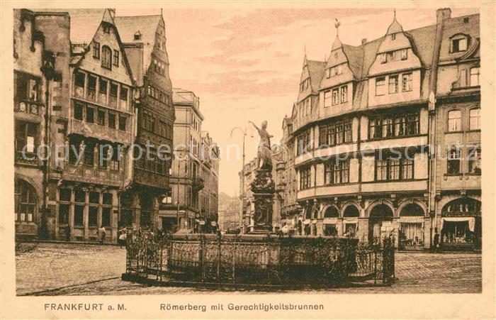 Frankfurt Main Roemerberg Gerechtigkeitsbrunnen Kat. Frankfurt am Main