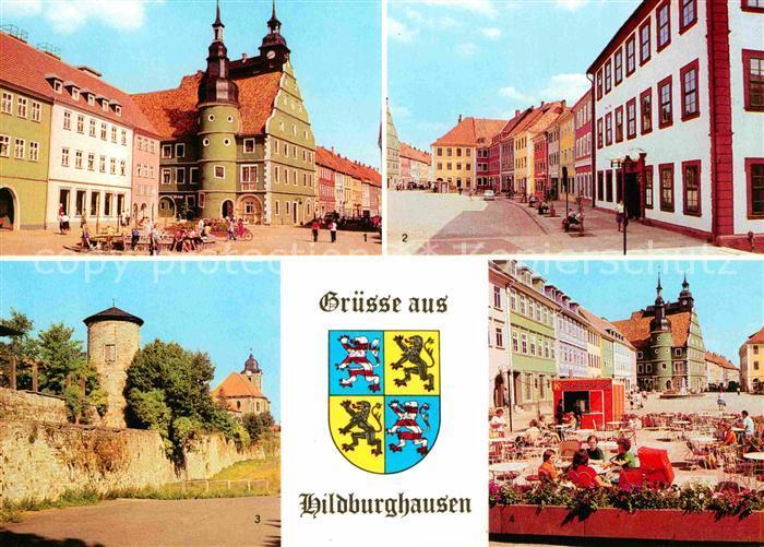 Hildburghausen Rathaus Marx Engels Platz Stadtmauer Boulevard Cafe Kat. Hildburghausen