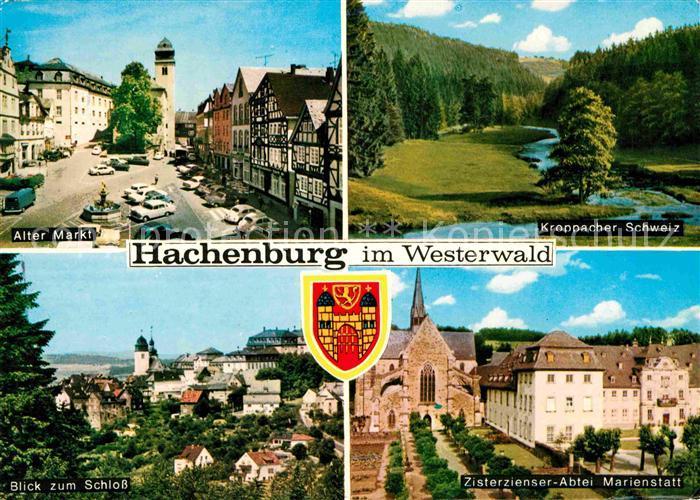 Hachenburg Westerwald Alter Markt Kroppacher Schweiz Zisterzienser Abtei Marienstatt Schloss Kat. Hachenburg