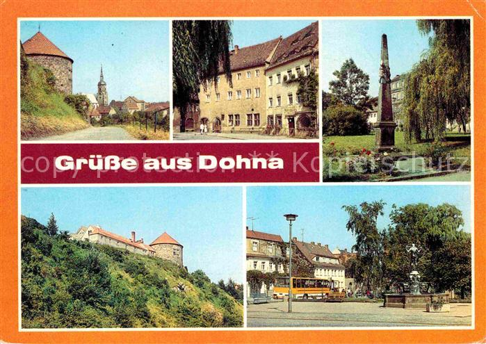 Dohna Sachsen Ratskeller Postmeilensaeule Burg Kat. Dohna Sachsen