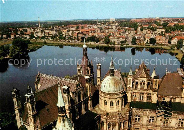 Schwerin Mecklenburg Blick vom Schlossturm auf Stadt und Burgsee Kat. Schwerin
