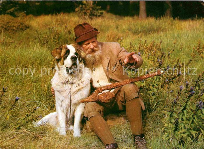 Krkonose Ruebezahl Berggeist im Riesengebirge Mann mit Hund Kat. Polen