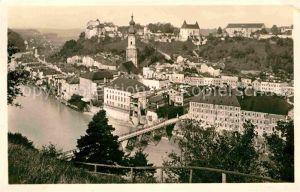 Burghausen Salzach Stadtbild mit Kirche Burg Kat. Burghausen