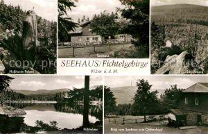 Seehaus Fichtelgebirge Nusshardt Felsen Schneeberg Fichtelsee Blick zum Ochsenkopf Kat. Troestau