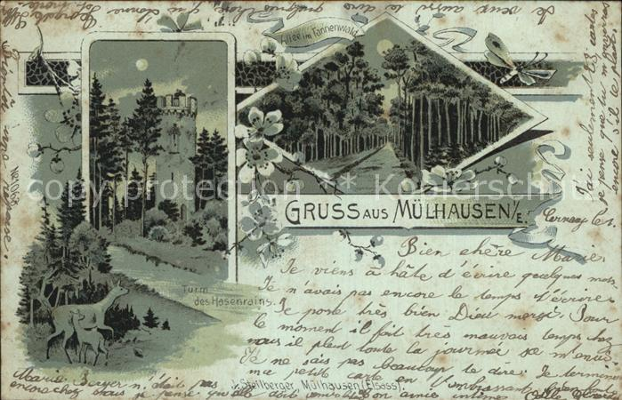 Muelhausen Elsass Tannenwald Turm Hasenrain Mondschein Kat. Mulhouse
