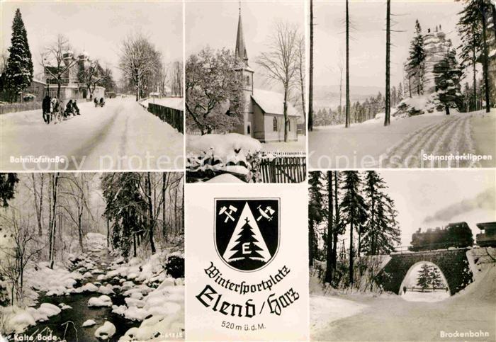 Elend Harz Bahnhofstrasse Kirche Schnarcherklippen Brockenbahn Kalte Bode Wintersportplatz Kat. Elend Harz