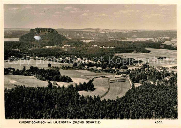 Gohrisch mit Lilienstein Tafelberg Elbsandsteingebirge Kat. Gohrisch