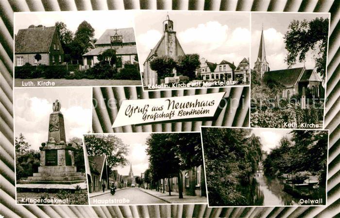 Neuenhaus Kirche Marktplatz Oelwall Hauptstrasse Kriegerdenkmal Kat. Neuenhaus
