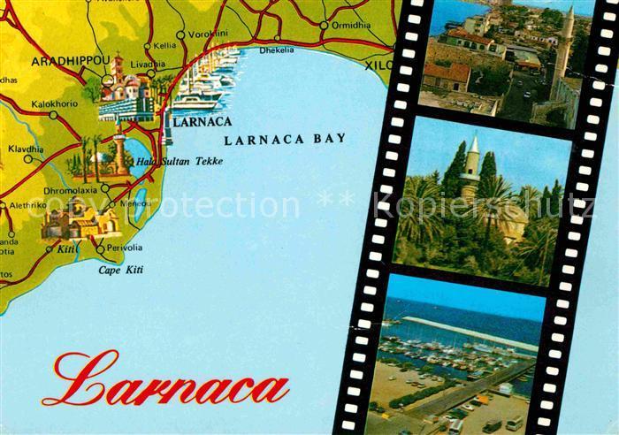 Larnaca Landkarte Larnaca Bay Teilansichten Hafen Kat. Larnaca Cyprus