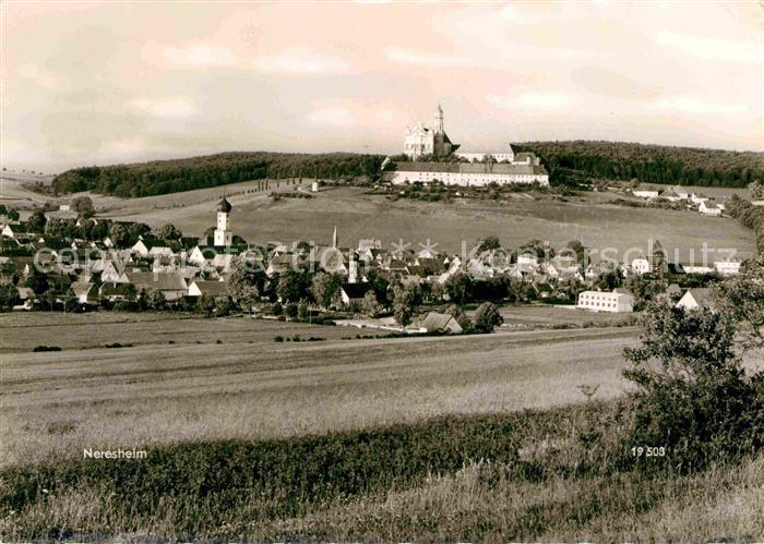 Neresheim Ortsansicht mit Kloster Kat. Neresheim