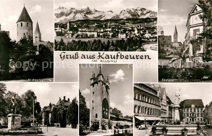 Kaufbeuren St Blasiuskirche Alpenkette Sedanstrasse Kaiser Max Strasse Brunnen Fuenfknopfturm Bahnhofstrasse Denkmal Statue Kat. Kaufbeuren