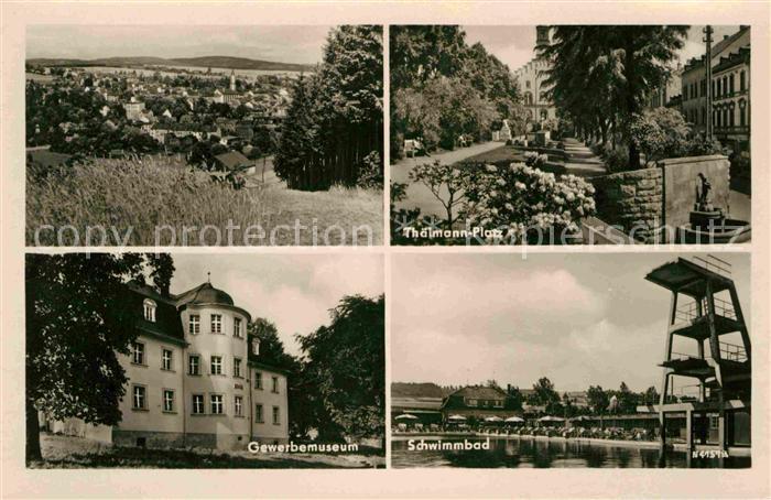 Markneukirchen Thaelmann Platz Gewerbemuseum Schwimmbad  Kat. Markneukirchen