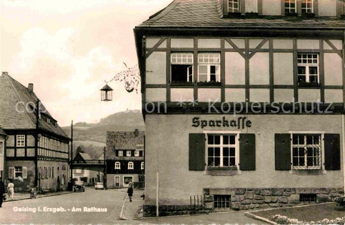 Geising Erzgebirge Rathaus Sparkasse Kat. Geising Osterzgebirge