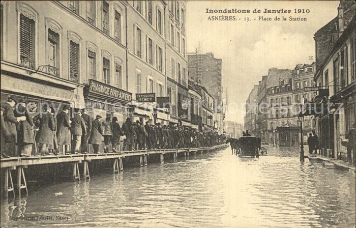 Asnieres Eure ueberschwemmung Januar 1910 Place Station Kat. Asnieres