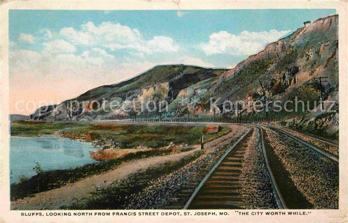 St Joseph Missouri Bluffs looking North from Francis Street depot Railway